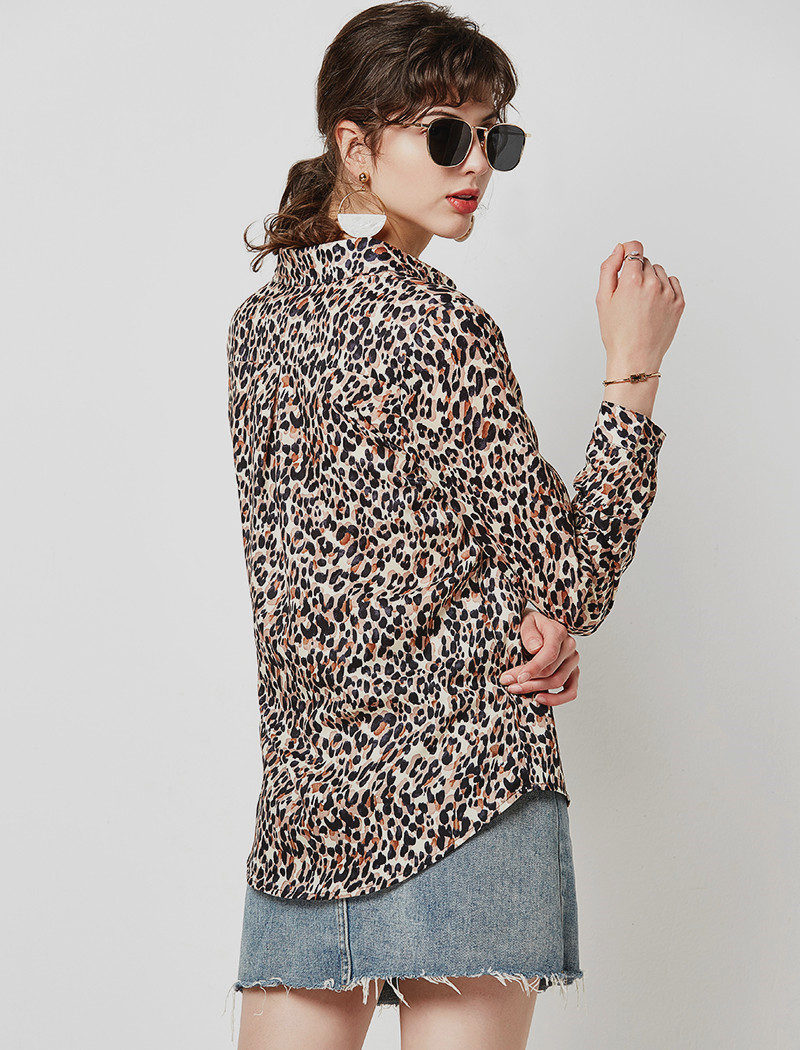 Vintage Leopard Print Blouse Women Casual Shirts 19 Loose Long Sleeve Turn Down Collar Office Shirt Tunic Plus Size Hunt Femme 12