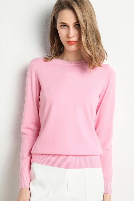 New Women Sweater Autumn Winter Clothes Solid Round Neck Sweater Jumper Long-sleeved Knitted Pullovers Shirt Female Tops 2
