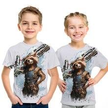 Toddler boys Batman Rocket Raccoon t shirt superhero new summer 3D children kids shorts baby girls tops tees 4t-14t
