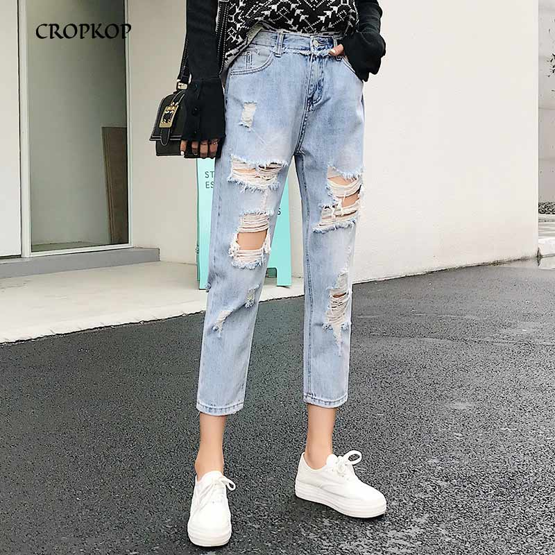 Vintage Ladies Boyfriend Jeans For Women Mom High Waisted Jeans Light Blue Casual Hole Loose Korean Streetwear Denim Harem Pants