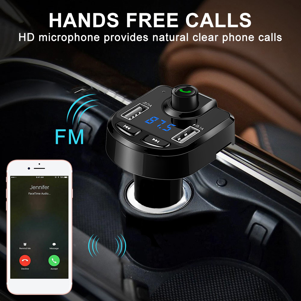 Handsfree Bluetooth Car Kit Wireless TF Card U Disk MP3 Player FM Transmitter Adapter Kit LCD Screen Dual USB Charger for Phones