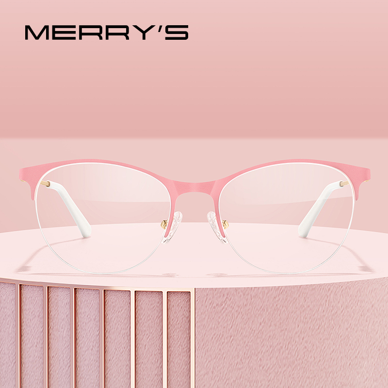 MERRYS DESIGN Women Fashion Trending Cat Eye Glasses Half Frame Ladies Eyewear Myopia Prescription Optical Eyeglasses S2004