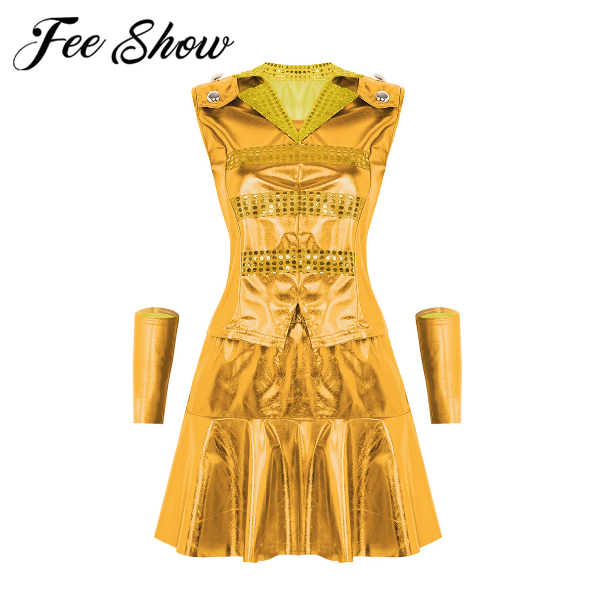 Women Shiny Metallic Modern Jazz Hip Hop Street Show Dancewear Contemporary Dance Costume Lapel Collar Top & Ruffled Short Skirt
