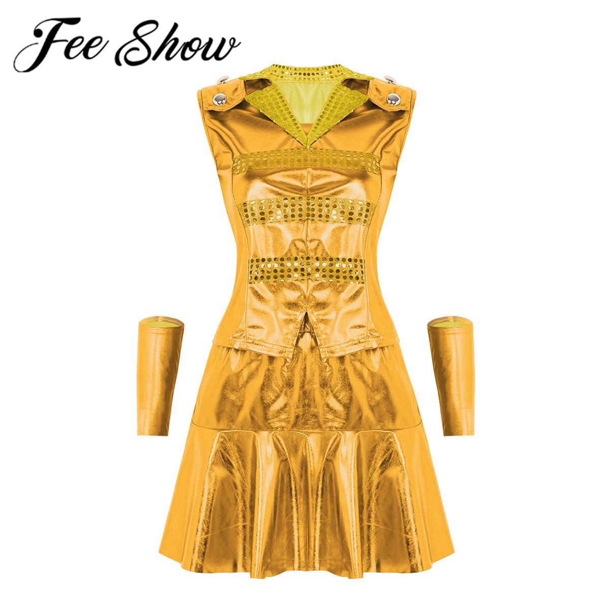 Women Shiny Metallic Modern Jazz Hip Hop Street Show Dancewear Contemporary Dance Costume Lapel Collar Top & Ruffled Short Skirt