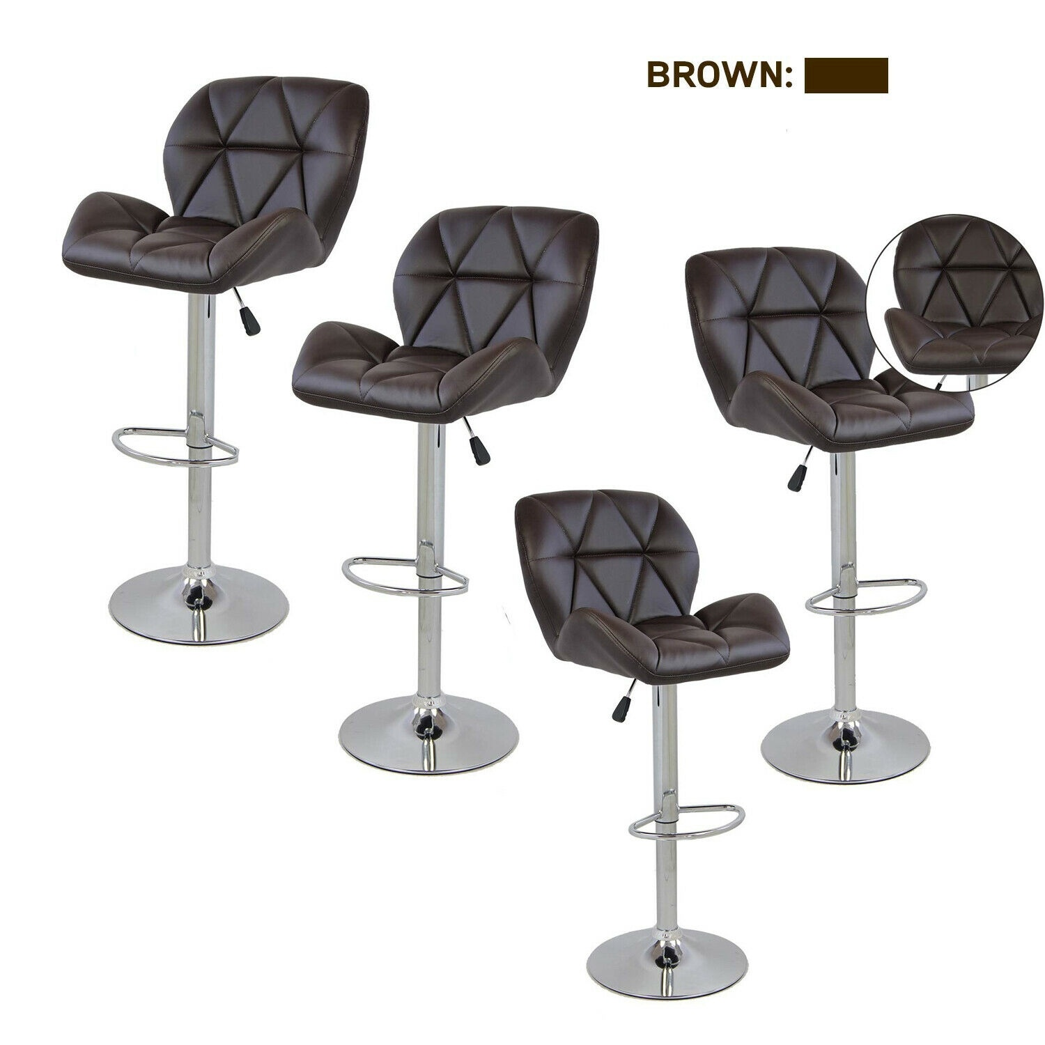 Set Of 4 Adjustable Bar Stools PU Leather Countertop Swivel Chair Dining Bistro