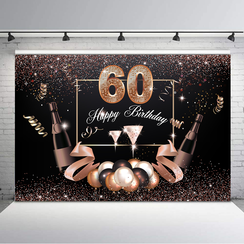 Beer 60th Birthday Banner Party Decoration Backdrop