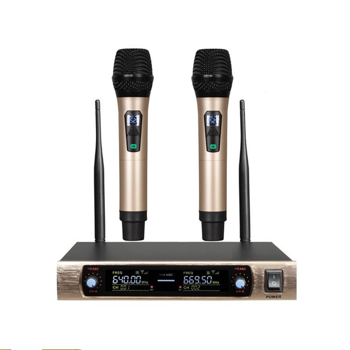 UHF 2 Channel Dual Metal Wireless Microphone Transmitter Set  2pcs/set  Professional Karaoke Wireless Handheld Microphone