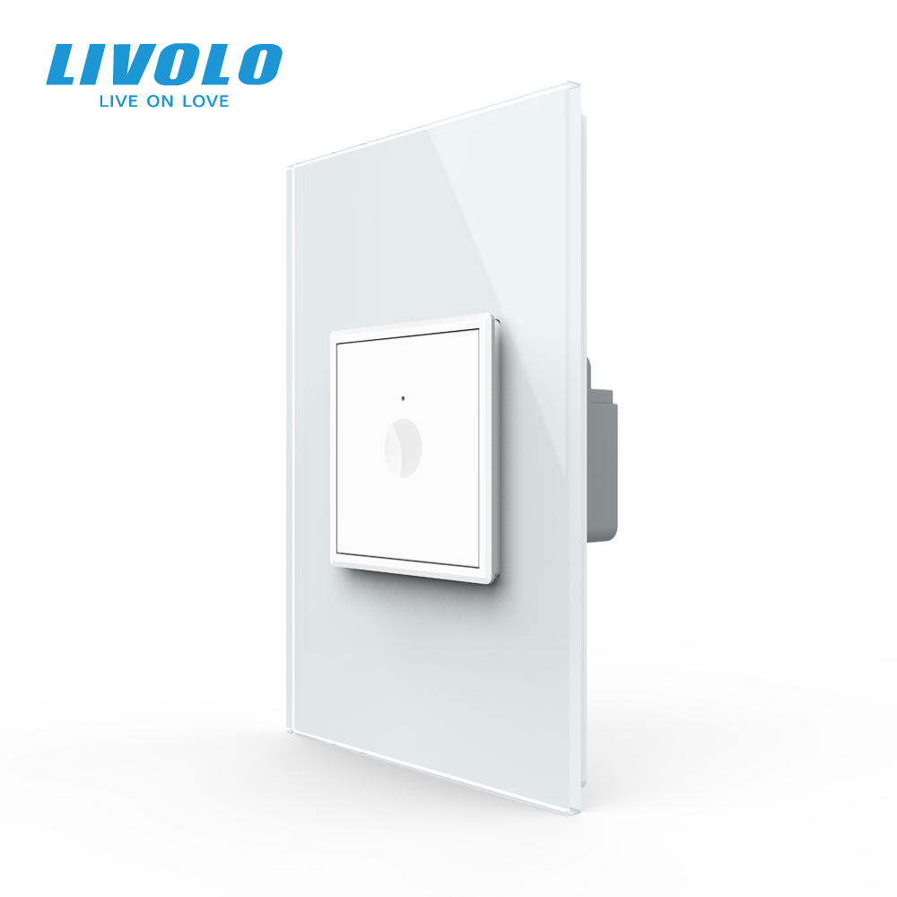 Livolo US AU Standard 45mm Wall Touch Switch,2Way Remote Touch Control,white Crystal Glass,plastic Key,push Button