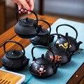 Мини Черный 100 мл настоящий чугунный чайник чайный набор ПЭТ украшение для чайного подноса чайный набор кунг-фу аксессуары кофейник