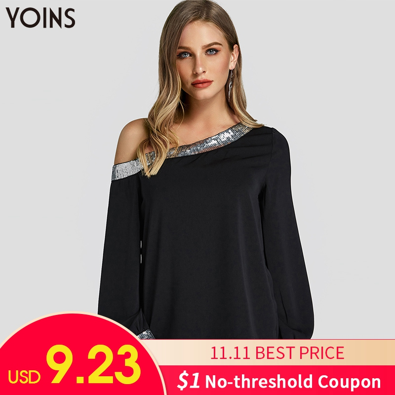 YOINS Women Blouses 2019 Spring Autumn Shirts Black Sequins Patchwork One Shoulder Lantern Sleeve Plus Size Pullovers Tops