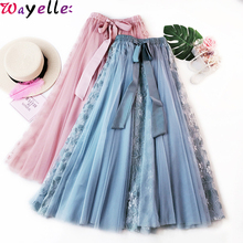 Mesh Pleated Skirt Women Autumn Korean Elegant High Waist A-line Tulle Midi Female Chic Lace Long Plus Size