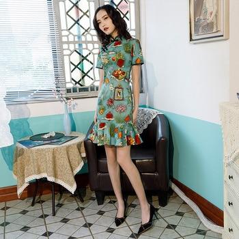 Mujer Vintage vestido elegante corte sirena Collar mandarín novedad Cheongsam exquisito chino vestido de fiesta de noche
