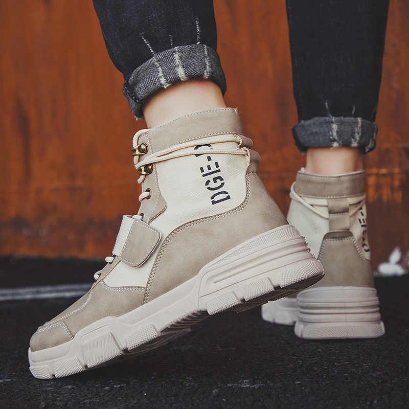Heflashor 2019, botas de invierno de alta calidad para hombre, botas de trabajo cálidas con cordones, botas de desierto para hombre, zapatos de punta redonda, Zapatos altos