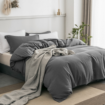 PHF 100% Cotton Duvet Cover With Buttons 2 Pillowshams Waffle Bedding Sets Texture Luxury Cozy Bedclothes Queen Size