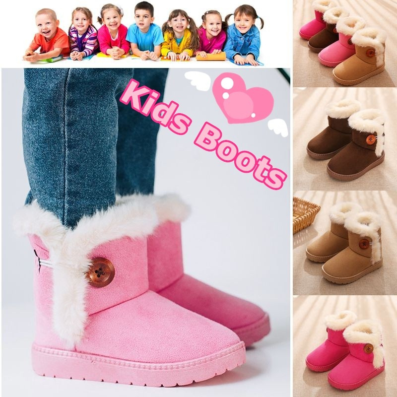 GIRLS KIDS WARM WINTER SNOW FLAT WEDGE HEEL POM QUITED PATENT GIRLS BOOTS SIZE