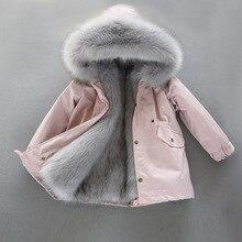 30 градусов куртка с капюшоном для девочек Толстая Обувь на теплом меху детских зимних курток модная длинная парка с защитой от ветра для мальчиков-подростков; детский зимний костюм; одежда