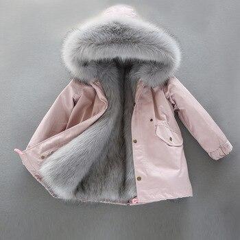 Куртка с капюшоном на температуру до 30 градусов плотное теплое детское зимнее пальто с мехом для девочек длинная парка ветронепроницаемые