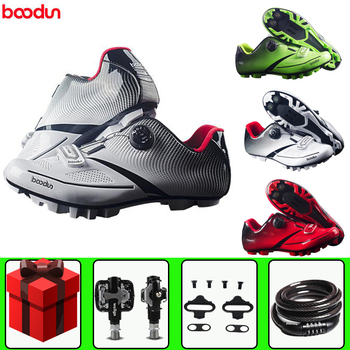 Boodun-zapatos de ciclismo ultraligeros para hombre, conjunto de pedal para bicicleta de...