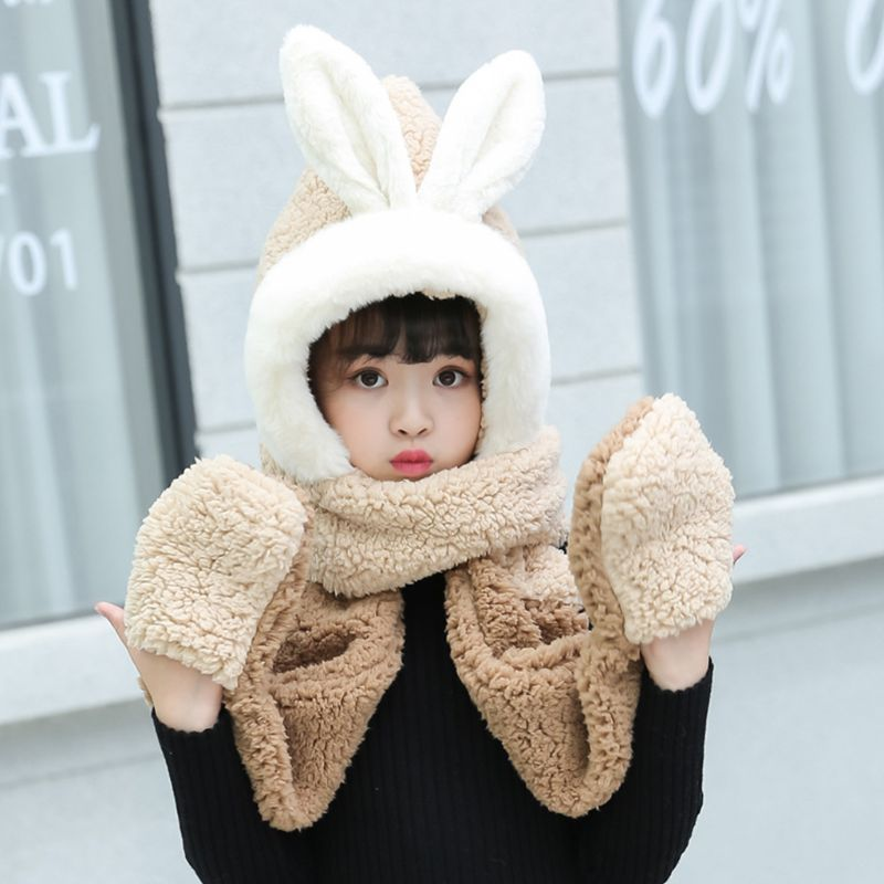 Kids 3 In 1 Scarf Hat Gloves Stitching Color Adorable Rabbit Ear Hoodie Earflap