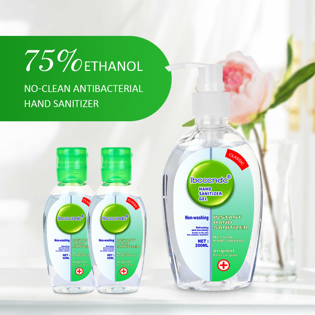 200ml+2pcs 50ml Anti Bacterial Waterless Hand Sanitizer Hand Disinfection Gel No-clean Quick-Dry Disposable Handgel 75% Ethanol 4