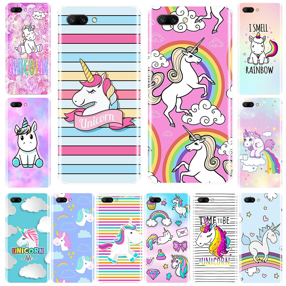 Silicone Case For Huawei Honor 7 8 9 10 LITE Soft TPU Cute Rainbow Unicorn Cover For Honor 8X MAX 10 9 8 7 7S 7X 7A 7C Pro