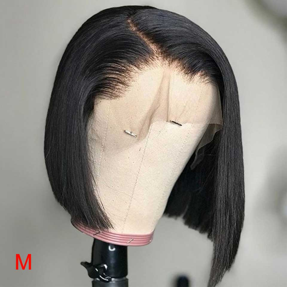 HD Transparent Lace Front Human Hair Wigs Short Bob 13x6 Brazilian Straight Lace Front Wig With Baby Hair For Black Women Remy