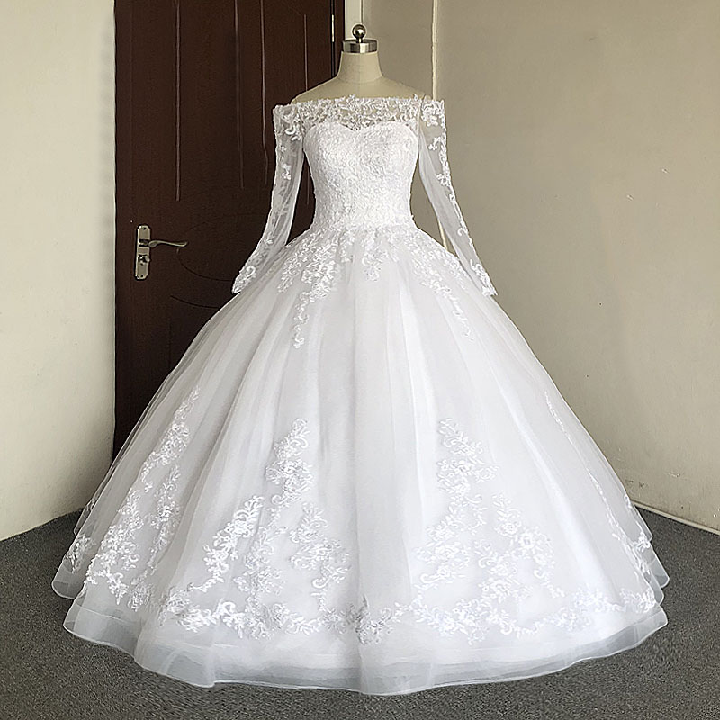 Image 3 - JIERUIZE White Lace Appliques Off The Shoulder Ball Gown Wedding Dresses Long Sleeves Princess Wedding Gowns robe mariage-in Wedding Dresses from Weddings & Events