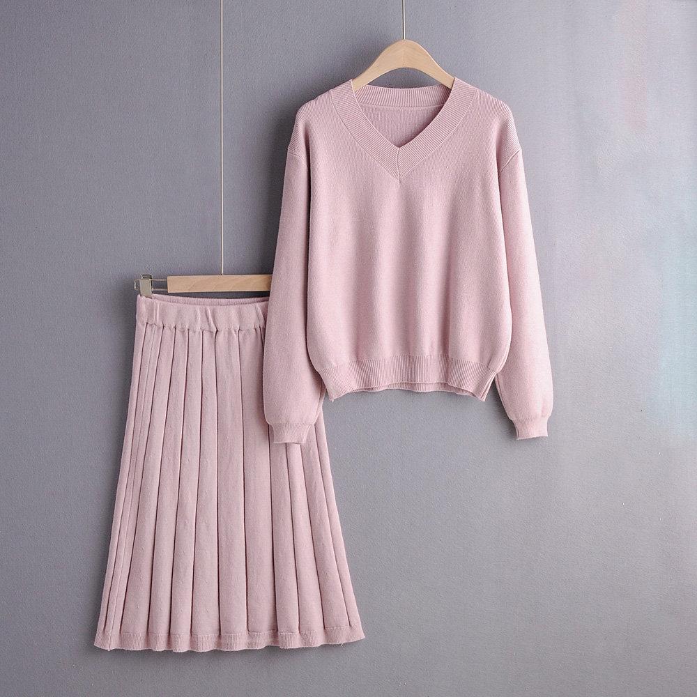2019 Autumn Winter Two Piece Set Ladies Elegant Knitted Set Lantern Sleeve Sweater Elastic Waist Skirt Korean Clothes Women