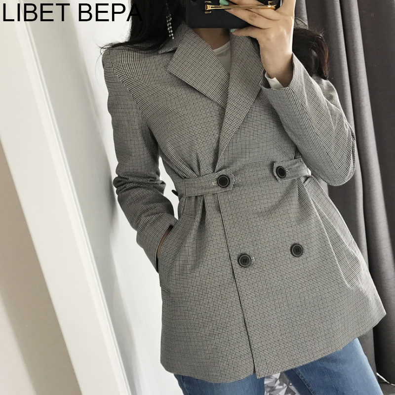 2019 Autumn Winter Fashion Blazer Jacket Women Suit Plaid Long Sleeve Slit Elegant Double Breasted Outerwear Female Ladies BA152