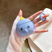 For AirPod 2 Case 3D Blue Elephant Nose Cartoon Soft Silicone Wireless Earphone Cases Apple Airpods Cute Cover Funda