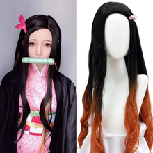 цена на DIANQI Long Wavy Synthetic Hair Wig Anime Cosplay Wig Black  Ombre Orange Easy to wear Female Wigs