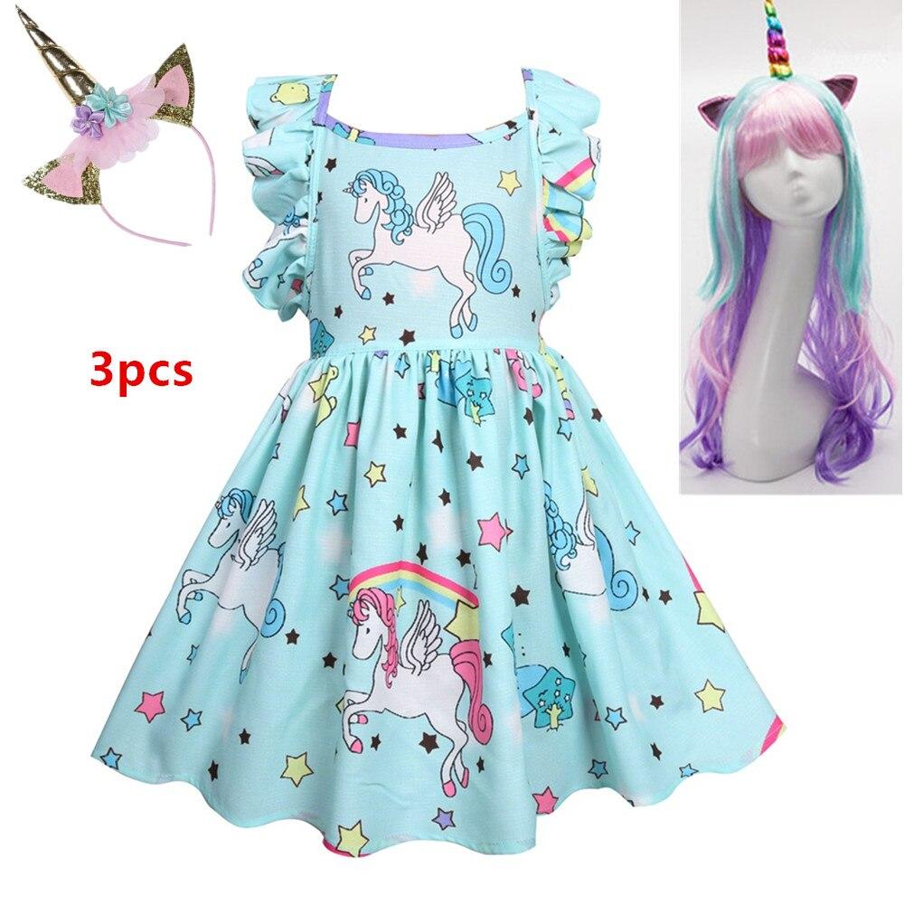Vestidos Girls Summer Dress 2019 Brand Backless Teenage Party Unicorn Princess Dress Children Costume For Kids Clothes Pink+Wig