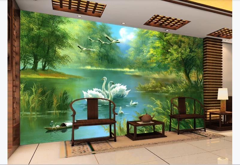 Papel De Parede Wallpaper 3D Oil Painting Beautiful Landscape Wallpapers For Living Room Bedroom Swan Photo Brick Murals