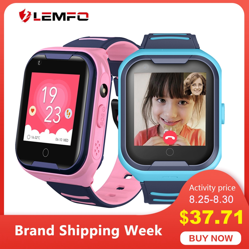 LEMFO GPS Children Smart Watch 4G Support SIM Card Call SOS Full Touch Phone Watch with