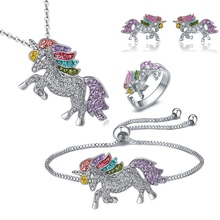 Luxury Crystal Unicorn Jewelry Set Cute Rainbow Horse Silver Gold Necklace Bracelet Rings Earrings F