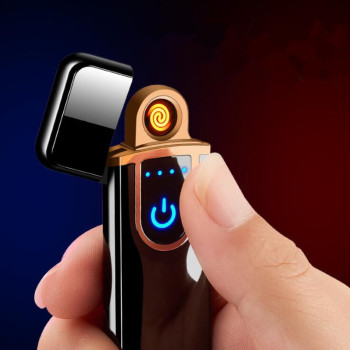 цена на Charging lighter Touch induction windproof electronic ultra-thin USB cigarette lighter custom Metal