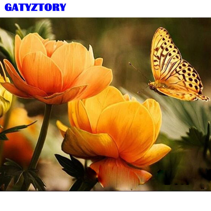 GATYZTORY Framed DIY Painting By Numbers Handpainted Oil Painting Fowers And Butterfly Paint By Numbers Modern Wall Art Picture