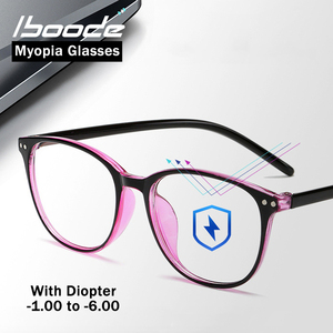 iboode Retro Round Myopia Glasses Frame Women Blue Film Optical Spectacles Frames Finished Nearsighted Goggles Diopter -1.0~6.0