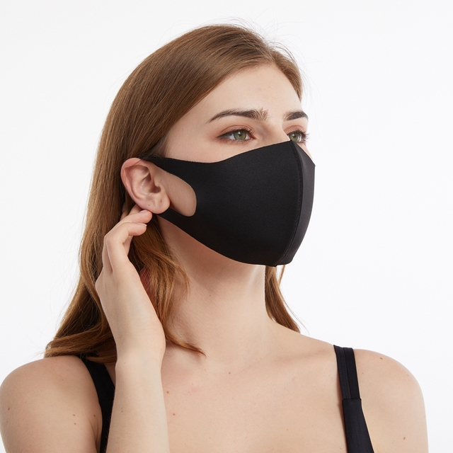 5pcs Washable elastic Earloop Face Breathing Mask Reusable Anti Dust Cotton Mouth Mask Fashion Black Mask For Adults 1