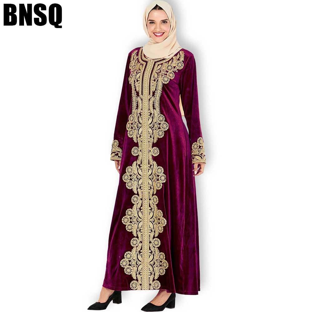 BNSQ Maxi Dresses Velvet Long Sleeve Gold Embroidery Abaya Muslim Kaftan Moroccan Turkey Indian Dresses Pakistani Oma Hijab Dres
