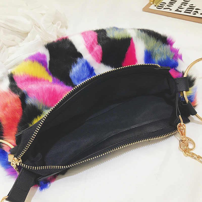 Luxus Frauen Plüsch Handtasche 2019 Winter Schulter Taschen Faux Pelz Abend Kupplung Tasche hohe Qualität Damen Party Kette Umhängetasche Geldbörse