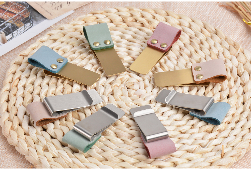Metal Leather Pen Holder Brass Leather Steel Accessory Planner Clip And Fog Stainless Wax Notebook For Stationery Clip