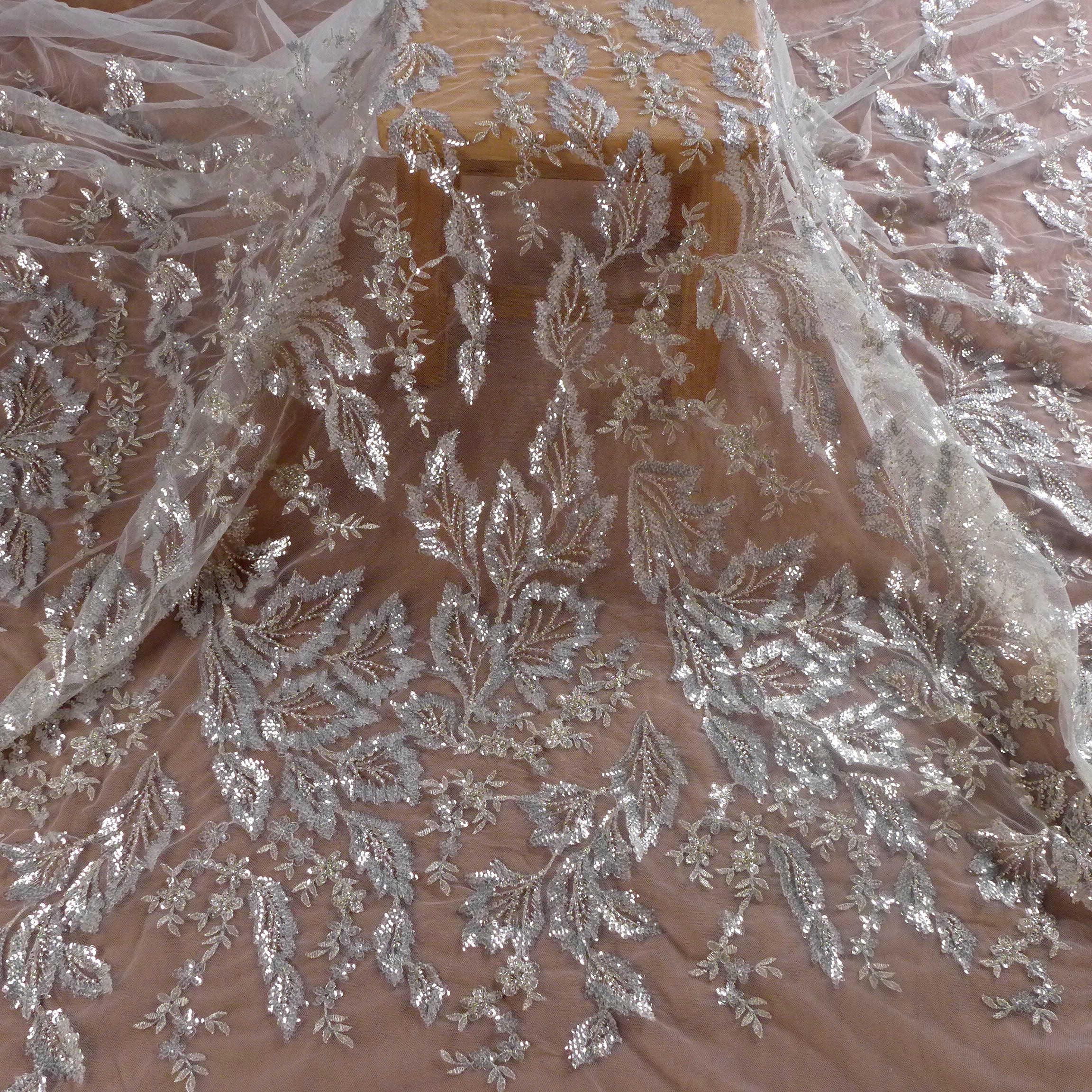 La Belleza ใหม่ sequins ลูกปัดชุดแต่งงานลูกไม้ผ้าสีขาวลูกปัดลูกไม้ผ้าใบรูปแบบลูกไม้ 1 YARD