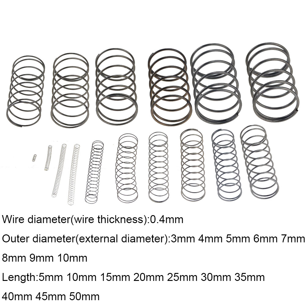 10 шт. 0,4*3 4 5 6 7 8 9 10 мм * 5-50 мм пружина из стали маленький сжатие Механическая возвратная пружина внешний диаметр 3 мм 4 мм