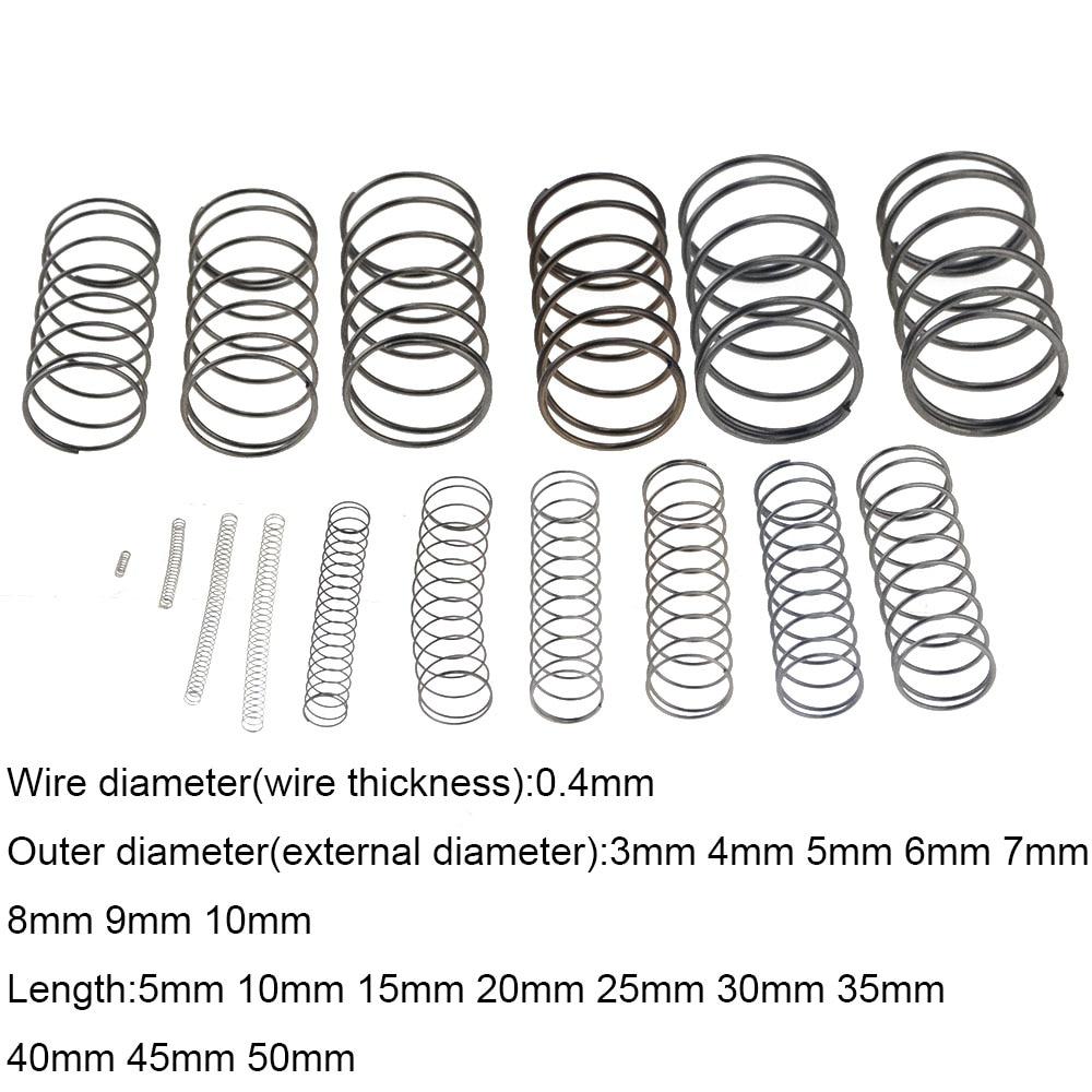10PCS 0.4*3 4 5 6 7 8 9 10mm*5-50mm Spring Steel Small Compression Release Mechanical Return Spring Pressure Spring OD 3mm 4mm