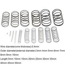 Ressort de pression à ressort de Compression mécanique en acier, 10 pièces, 0.4x3 4 5 6 7 8 9 10mm * 5-50mm, petit ressort de pression OD 3mm 4mm