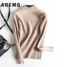 AOEMQ Christmas Sweater Winter Cotton Keep Warm Pullover Turtleneck Sweater Solid Striped Women Tops for Women Clothing(China)