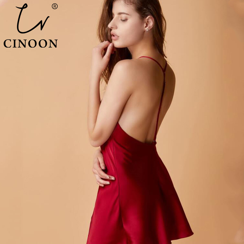 CINOON Silk Mini Night Dress Sexy Lingerie Sleepdress Red Nightgown For Women Exposure Back Fashion Nightgown