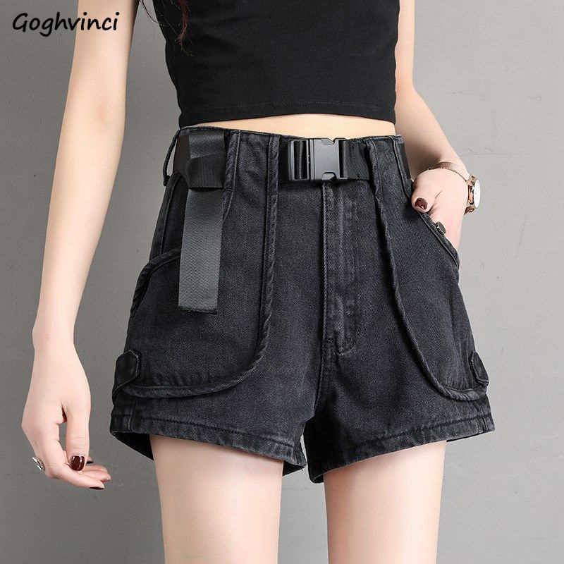 Women Shorts Summer Denim Sashes Waistband Pockets Womens Loose BF Solid A-line Vintage Wide-leg Ulzzang Street Wear Trendy Chic