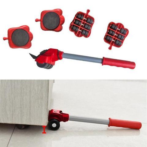 Levantador de Móveis Dispositivo de Motor Sliders Kit Profissão Ferramenta Mover Móveis Pesados Rolo Roda Conjunto Bar 5 Pçs – Set